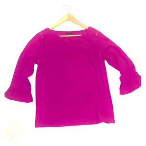 Talbots blouse with flared 3/4 sleeve